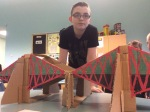 Edward with his model of the Forth Road Bridge